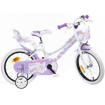 Kerékpár lila-fehér színben 16-os méret lányoknak