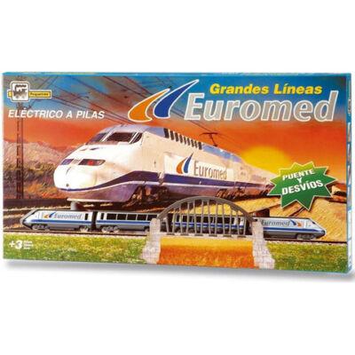 Euromed személyvonat készlet vasút állomással, sorompóval