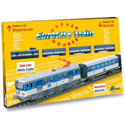 Eurocity személyvonat vasút készlet híddal, kiegészítőkkel