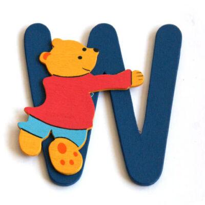 Macis gyerekszoba névtábla W betű fából
