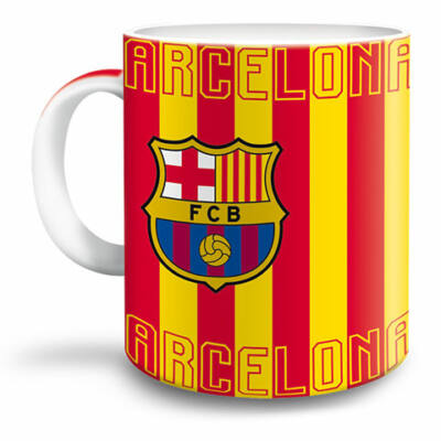 Barcelona csíkos porcelán bögre