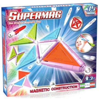 Supermag: 35db-os pasztell színű mágneses építőjáték szett panelekkel