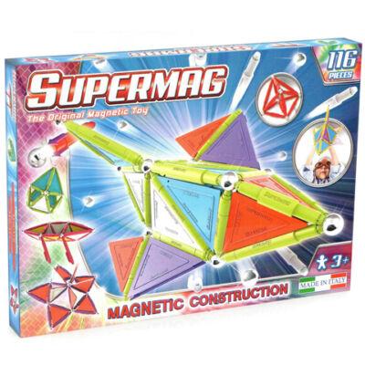 Supermag: 116db-os pasztell színű mágneses építőjáték szett panelekkel