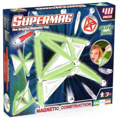 Supermag: Sötétben világító 48db-os mágneses építőjáték szett panelekkel