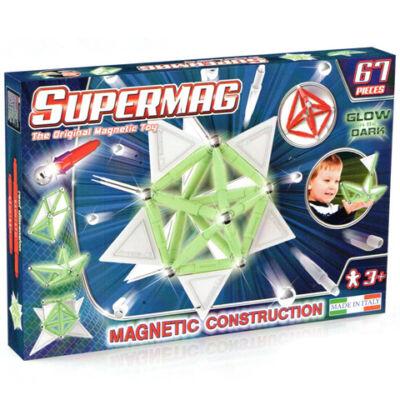 Supermag: Sötétben világító 67db-os mágneses építőjáték szett panelekkel