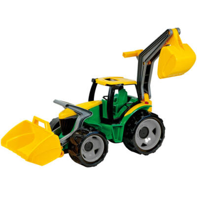 LENA: Óriás traktor homlokrakodóval és markolókanállal sárga/zöld 65cm