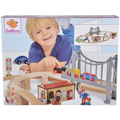 Vasút játékszett híddal 430 cm-es – Eichhorn