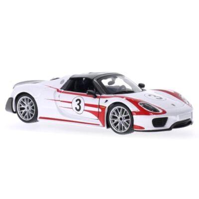 Bburago: Porsche 918 Spyder fém autómodell 1/24 fehér