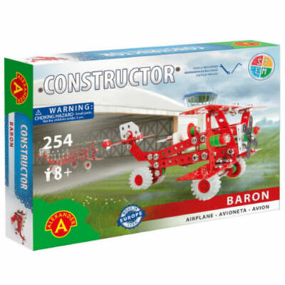 Piros repülőgép modell fém építőjáték 254 db-os