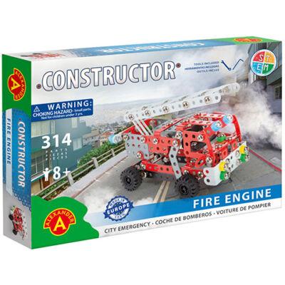 Létrás tűzoltóautó fém építőjáték 314 db-os