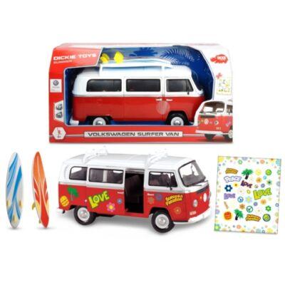 Volkswagen T1 furgon szörfdeszkákkal és matricákkal – Dickie Toys