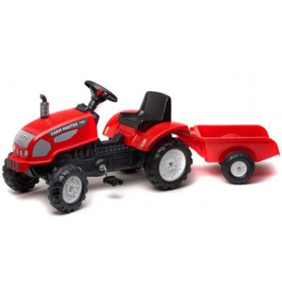 Farm Master 720i lábbal hajtós traktor utánfutóval piros színben - FALK