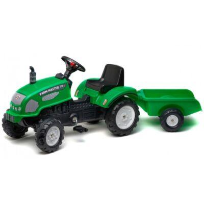 Farm Master 720i lábbal hajtós traktor utánfutóval zöld színben - FALK