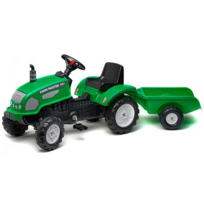 Farm Master 720i zöld traktor utánfutóval - FALK