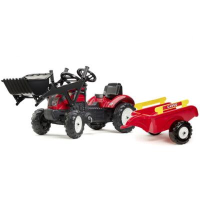 Ranch Trac piros traktor homlokrakodóval és utánfutóval - FALK