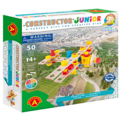 Junior repülőgép fa építőjáték 50 db-os