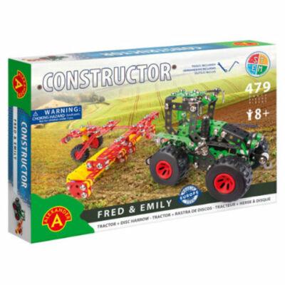 Traktor modell tárcsás boronával fém építőjáték 479 db-os