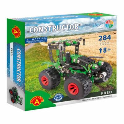 Zöld traktor modell fém építőjáték 284 db-os