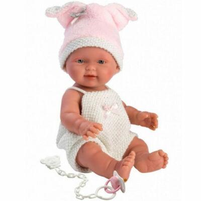 Llorens: Három kismalac – Újszülött lány baba fehér ruhában 26 cm-es