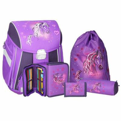 Spirit: Lovas lila 5 db-os iskolatáska szett kiegészítőkkel