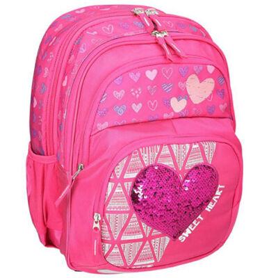 Spirit: Rózsaszín flitteres szívecske mintás ergonómikus iskolatáska
