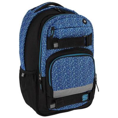 Spirit: Campus fekete és kék lekerekített iskolatáska, hátizsák