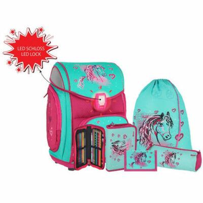 Spirit: Lovas kék-pink 5 db-os iskolatáska szett kiegészítőkkel LED fénnyel