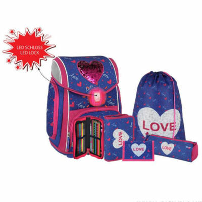 Spirit: Heart love 5 db-os iskolatáska szett kiegészítőkkel LED fénnyel