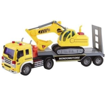 Exkavátor szállító teherautó fénnyel és hanggal – Mondo Motors