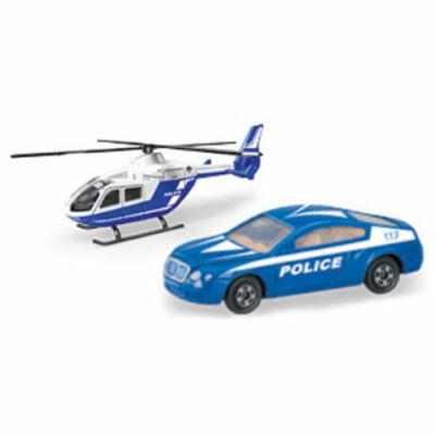 Helikopter rendőrautóval jármű szett 1/64 – Mondo Motors