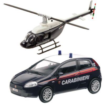 Carabinieri Fiat Bravo és helikopter fém modell szett 1/43 – Mondo