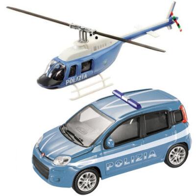 Rendőrségi Fiat Bravo és helikopter fém modell szett 1/43 – Mondo