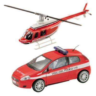 Tűzoltó Fiat Bravo és helikopter fém modell szett 1/43 – Mondo