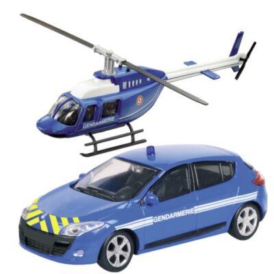 Gendarmerie Renault Megane és helikopter fém modell szett 1/43 – Mondo