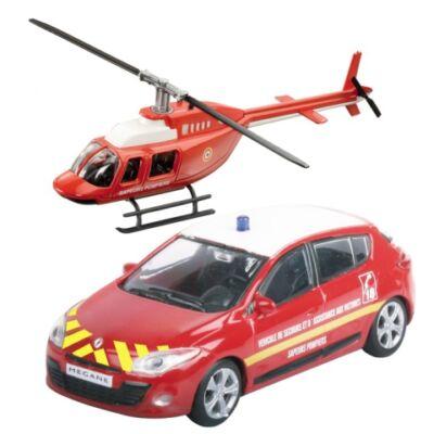 Tűzoltó Renault Megane és helikopter fém modell szett 1/43 – Mondo