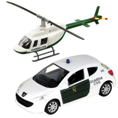 Guardia Civil Peugeot 308 és helikopter fém modell szett 1/43 – Mondo