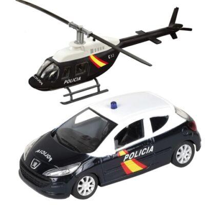 Rendőrségi Peugeot 308 és helikopter fém modell szett 1/43 – Mondo
