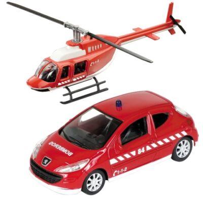 Tűzoltó Peugeot 308 és helikopter fém modell szett 1/43 – Mondo