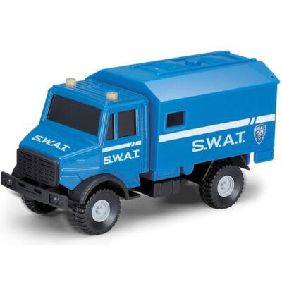 SWAT taktikai furgon kék színben 1/64 - Mondo Motors