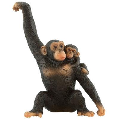 Csimpánz kölykével játékfigura – Bullyland