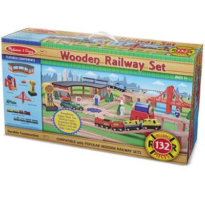 Fa vasút kiegészítőkkel 132 db-os szett – Melissa & Doug