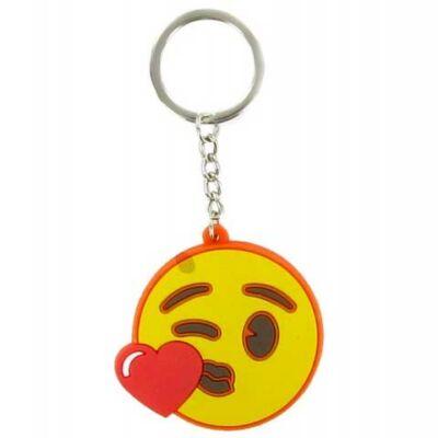Emoji szíves csókot dobó kulcstartó