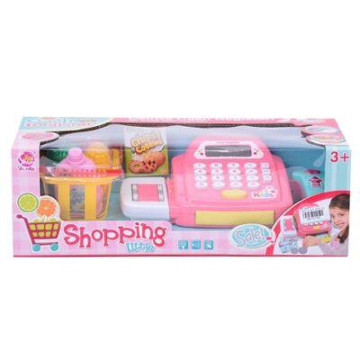 Rózsaszín elektronikus pénztárgép bevásárló kosárral és kiegészítőkkel