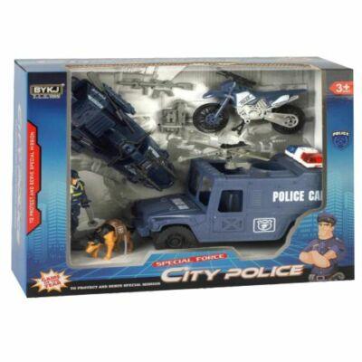 City Police nagy rendőrségi akció játékszett járművekkel és figurákkal