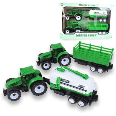 Dupla traktor zöld színben tartályos utánfutóval