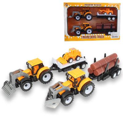 Dupla traktor sárga színben rönkszállító utánfutóval