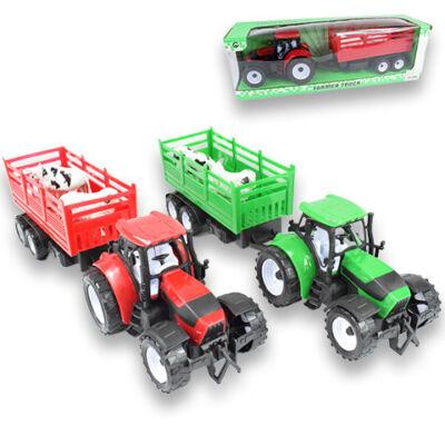 Zöld traktor utánfutóval és állatokkal