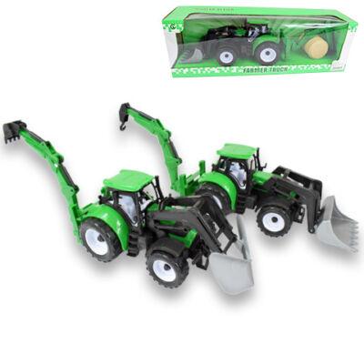 Farm traktor markolóval és szénabálával