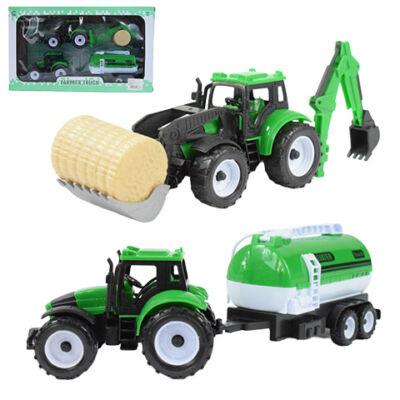 Farmer traktor és munkagép 2 db-os szett vontatmánnyal