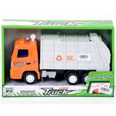 Narancssárga szemétszállító teherautó fénnyel